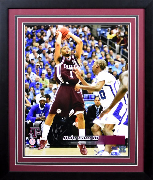 Acie Law IV Autographed Texas A&M Aggies 16x20 Framed Photograph (vs Memphis)