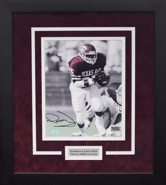 Darren Lewis Autographed Texas A&M Aggies 8x10 Framed Photograph