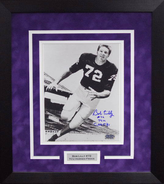 Bob Lilly Autographed TCU Horned Frogs 8x10 Framed Photograph