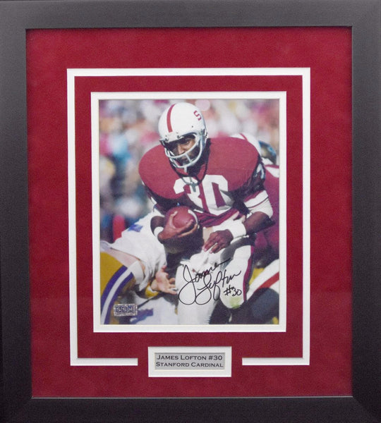 James Lofton Autographed Stanford Cardinal 8x10 Framed Photograph