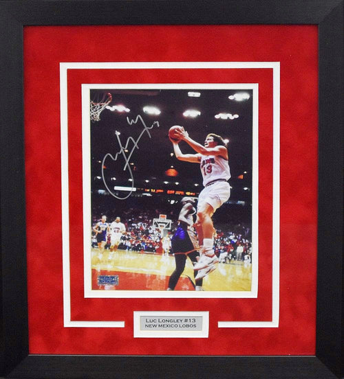 Luc Longley Autographed New Mexico Lobos 8x10 Framed Photograph