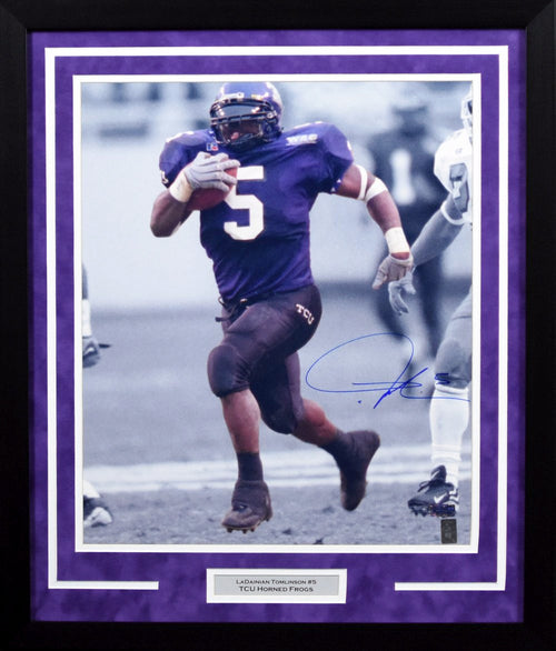 LaDainian Tomlinson Autographed TCU Horned Frogs 16x20 Framed Photograph (Spotlight)
