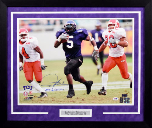 LaDainian Tomlinson Autographed TCU Horned Frogs 16x20 Framed Photograph (w/ inscription)