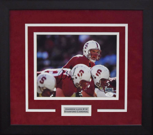 Andrew Luck Autographed Stanford Cardinal 8x10 Framed Photograph (Under Center)
