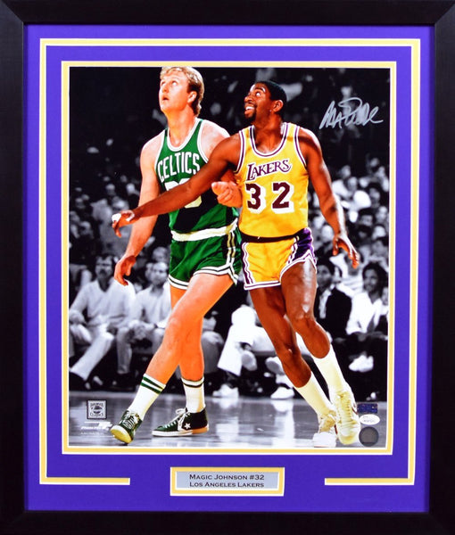 edb3e8ee7 Magic Johnson Autographed Los Angeles Lakers 16x20 Framed Photograph (w   Larry Bird)