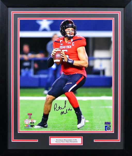 Patrick Mahomes II Autographed Texas Tech Red Raiders 16x20 Framed Photograph (vs Baylor)