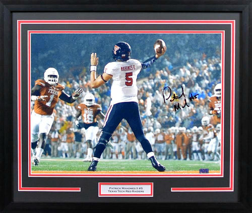Patrick Mahomes II Autographed Texas Tech Red Raiders 16x20 Framed Photograph (vs Texas)