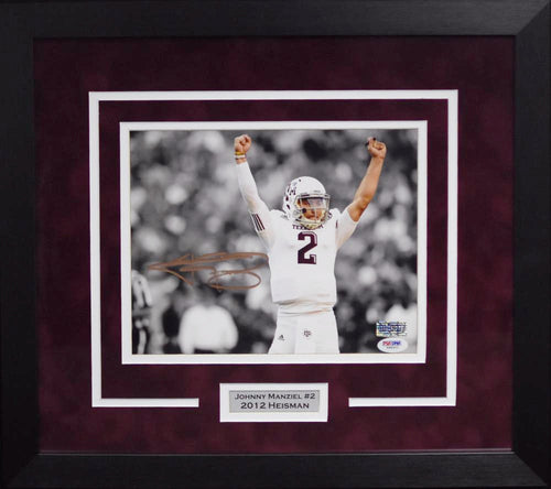 Johnny Manziel Autographed Texas A&M Aggies 8x10 Framed Photograph (Arms Up)