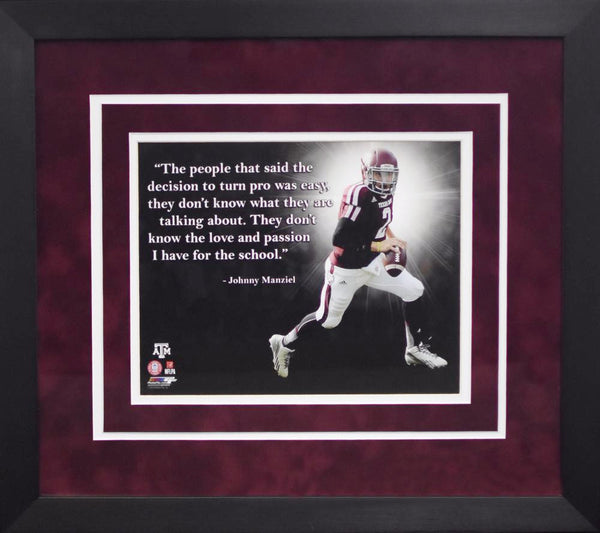 Johnny Manziel Quote Texas A&M Aggies 8x10 Framed Photograph