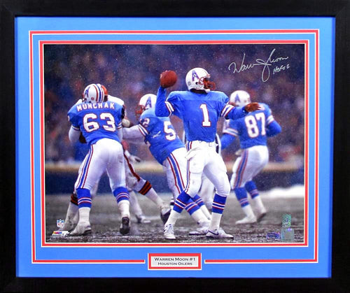 Warren Moon Autographed Houston Oilers 16x20 Framed Photograph