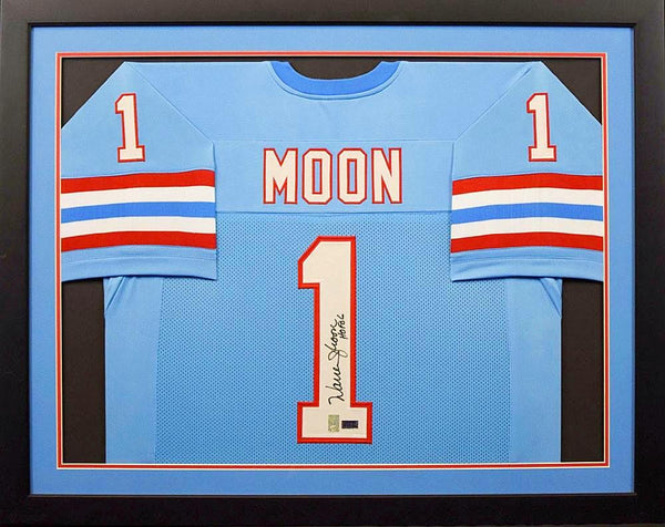Warren Moon Autographed Houston Oilers #1 Framed Jersey