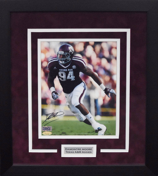 Damontre Moore Autographed Texas A&M Aggies 8x10 Framed Photograph