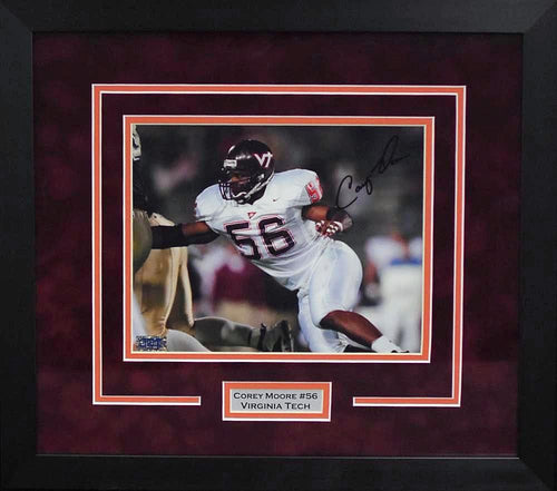 Corey Moore Autographed Virginia Tech Hokies 8x10 Framed Photograph
