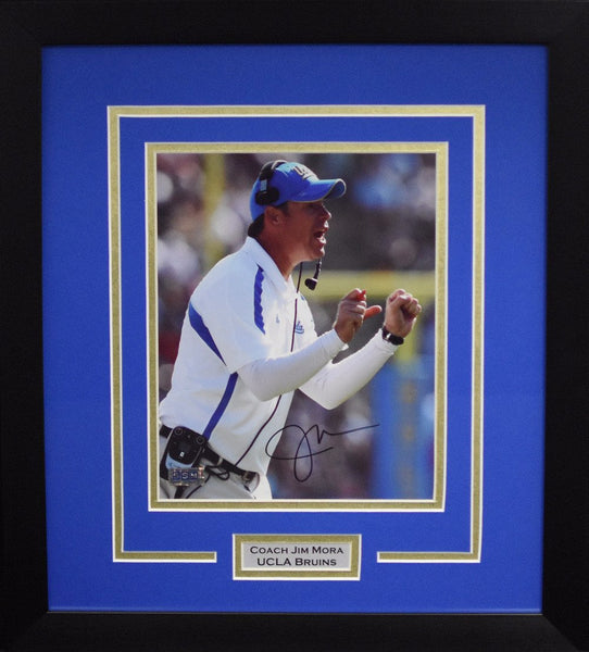 Jim Mora Autographed UCLA Bruins 8x10 Framed Photograph (Solo)