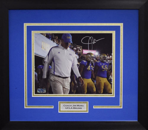 Jim Mora Autographed UCLA Bruins 8x10 Framed Photograph (Tunnel)