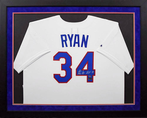 Nolan Ryan Autographed Texas Rangers #34 Majestic Framed Jersey