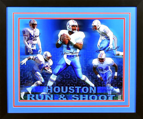 Run & Shoot Autographed Houston Oilers 16x20 Framed Photograph