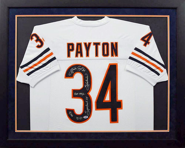 Walter Payton Autographed Chicago Bears #34 Framed Jersey