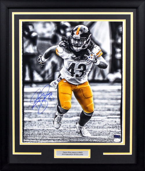 Troy Polamalu Autographed Pittsburgh Steelers 16x20 Framed Photograph
