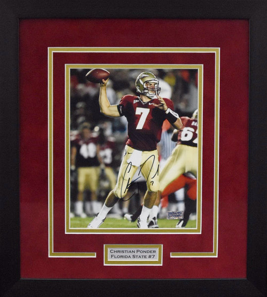 Christian Ponder Autographed Florida State Seminoles 8x10 Framed Photograph