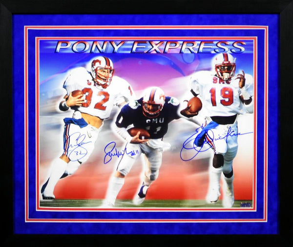 Pony Express Autographed SMU Mustangs 16x20 Framed Photograph