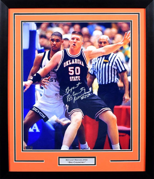 Bryant Reeves Autographed Oklahoma State Cowboys 16x20 Framed Photograph