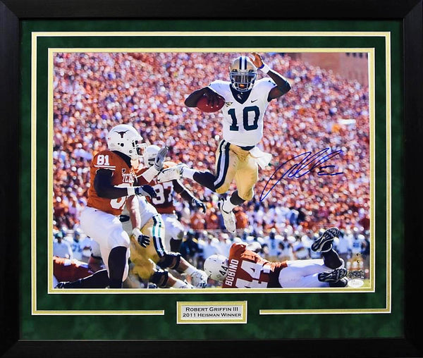 Robert Griffin III Autographed Baylor Bears 16x20 Framed Photograph - Leaping