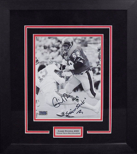 Gabe Rivera Autographed Texas Tech Red Raiders 8x10 Framed Photograph (Dickerson)