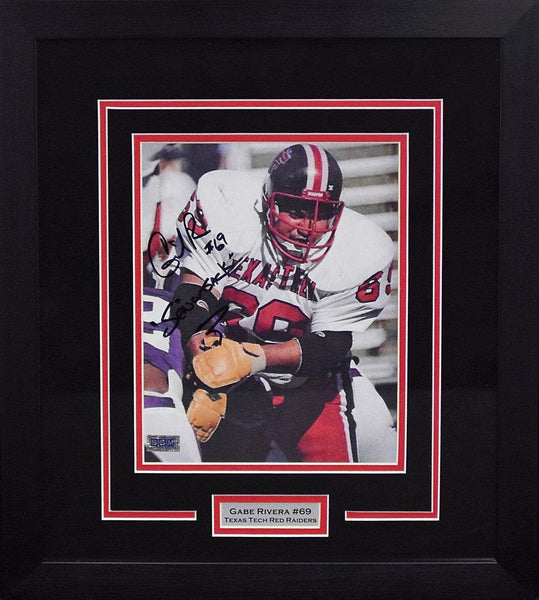 Gabe Rivera Autographed Texas Tech Red Raiders 8x10 Framed Photograph (Solo)