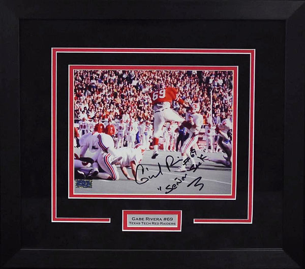 Gabe Rivera Autographed Texas Tech Red Raiders 8x10 Framed Photograph (Leaping)
