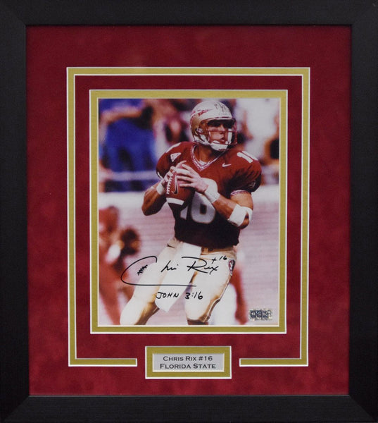 Chris Rix Autographed Florida State Seminoles 8x10 Framed Photograph #1