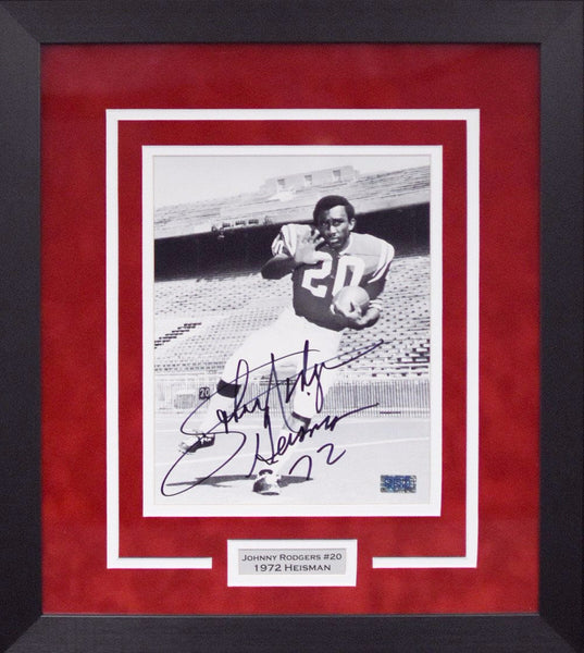 Johnny Rodgers Autographed Nebraska Cornhuskers 8x10 Framed Photograph (B&W)