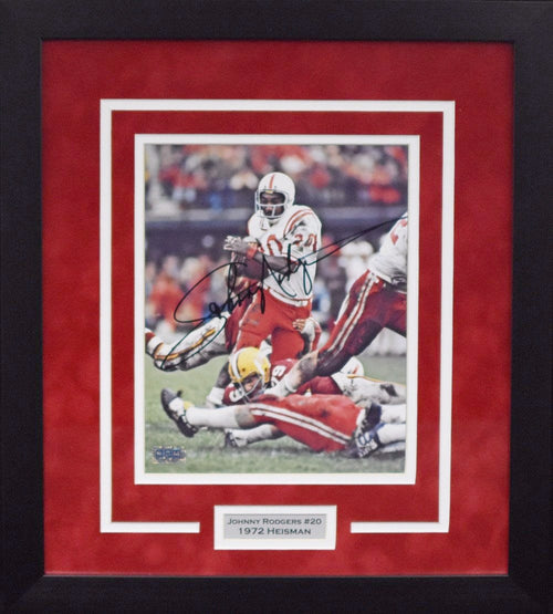 Johnny Rodgers Autographed Nebraska Cornhuskers 8x10 Framed Photograph (Color)