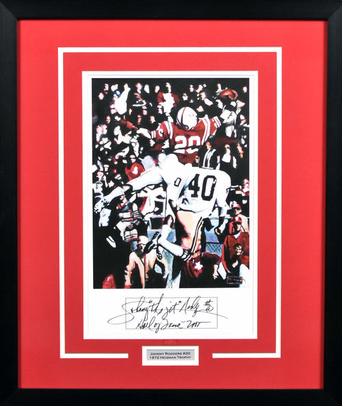 Johnny Rodgers Autographed Nebraska Cornhuskers 11x14 Framed Art Print