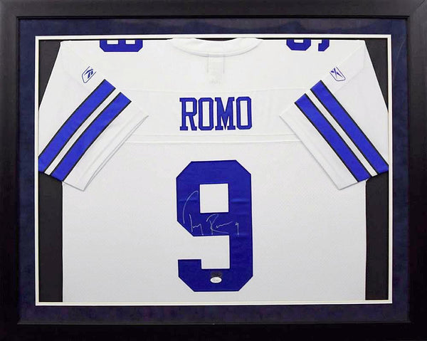 Tony Romo Autographed Dallas Cowboys #9 Reebok Premier Framed Jersey - White