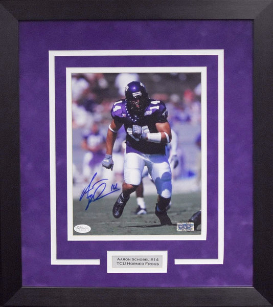 Aaron Schobel Autographed TCU Horned Frogs 8x10 Framed Photograph