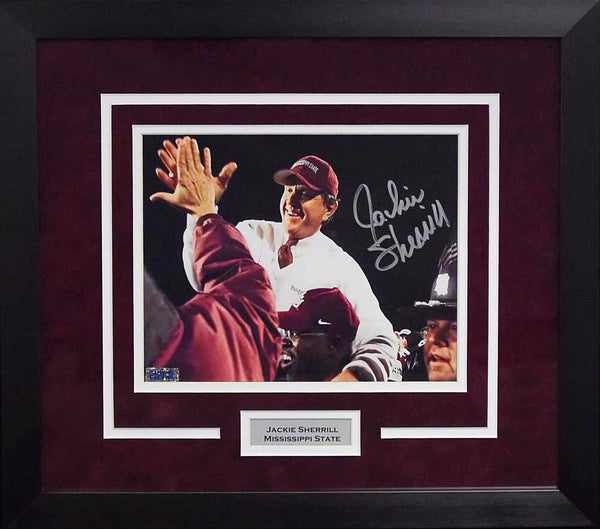 Jackie Sherrill Autographed Mississippi State Bulldogs 8x10 Framed Photograph