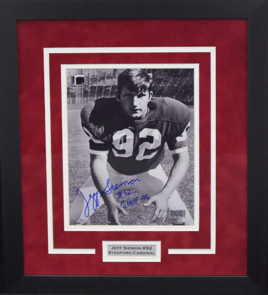 Jeff Siemon Autographed Stanford Cardinal 8x10 Framed Photograph
