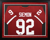 Jeff Siemon Autographed Stanford Cardinal #92 Framed Jersey