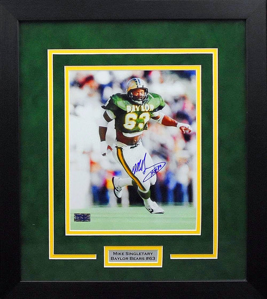 Mike Singletary Autographed Baylor Bears 8x10 Framed Photograph