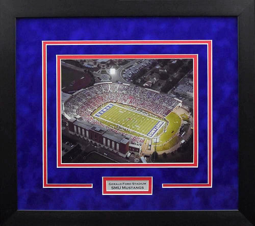 SMU Mustangs Gerald Ford Stadium 8x10 Framed Photograph (Night)