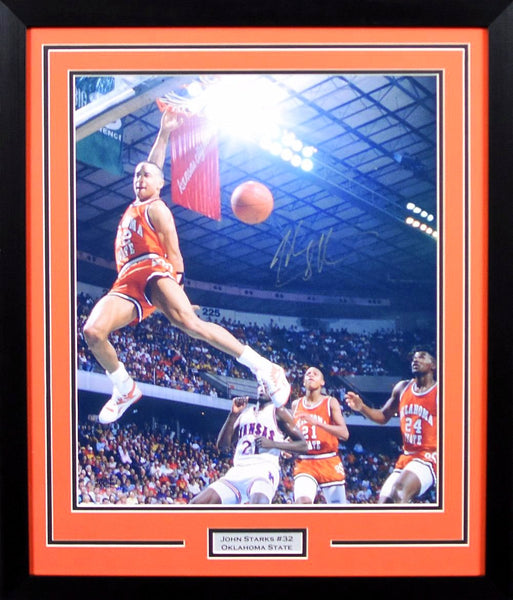 John Starks Autographed Oklahoma State Cowboys 16x20 Framed Photograph