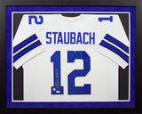 Roger Staubach Autographed Dallas Cowboys #12 Framed Jersey - White