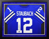 Roger Staubach Autographed Dallas Cowboys #12 Framed Jersey - Blue