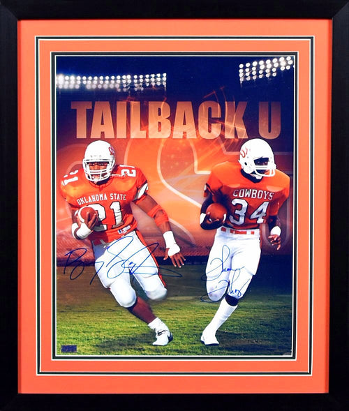 Barry Sanders & Thurman Thomas Autographed Oklahoma State Cowboys 16x20 Framed Photograph