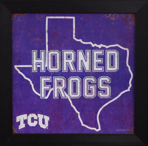 TCU Horned Frogs 12x12 Framed Tin Sign - State