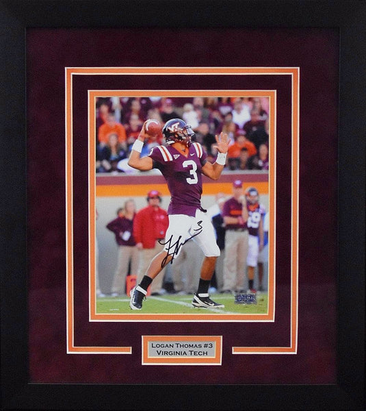 Logan Thomas Autographed Virginia Tech Hokies 8x10 Framed Photograph