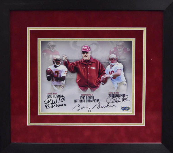 Bobby Bowden, Charlie Ward & Chris Weinke Autographed Florida State Seminoles 8x10 Framed Photograph