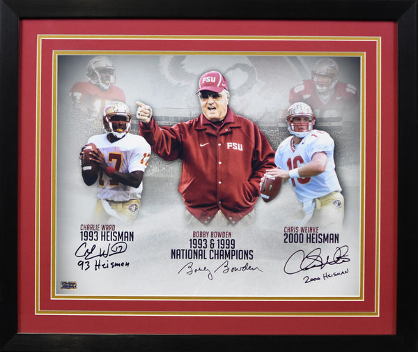 Bobby Bowden, Charlie Ward & Chris Weinke Autographed Florida State Seminoles 16x20 Framed Photograph