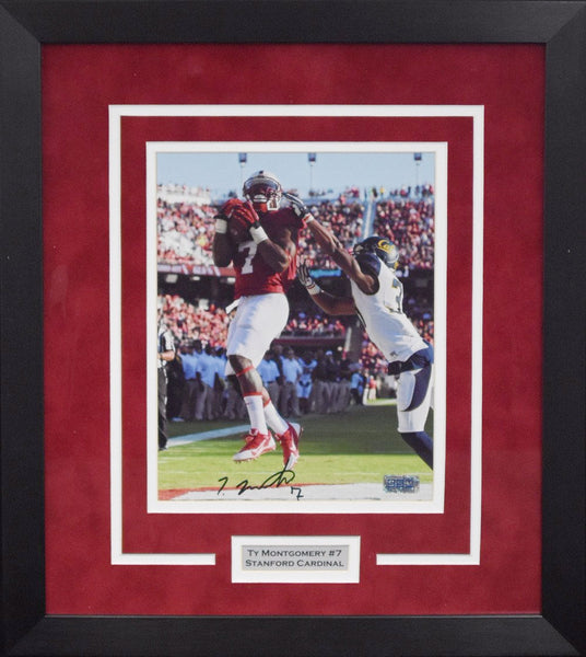 Ty Montgomery Autographed Stanford Cardinal 8x10 Framed Photograph (vs Cal)